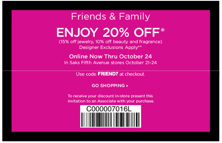 saks fifth avenue online coupon code