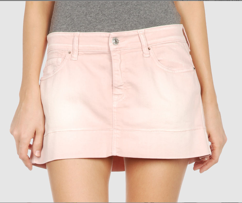 07a67cbe9d This DYED PRETTY denim skirt in light pink looks absolutely adorbs  (perfectly tanned/toned legs not included – damn!), $35 on yoox.com