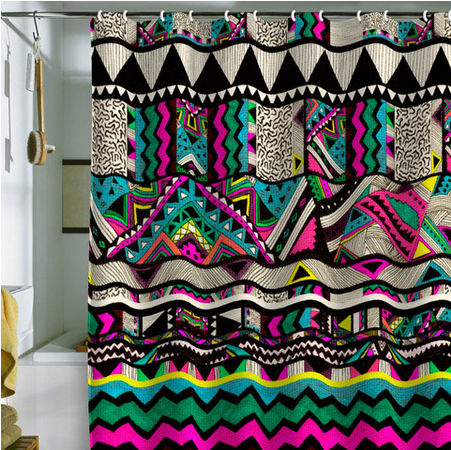 If You Know Me Im Pretty Much Obsessed With All Things Neon So When I Came Across This Insanely Bright Kris Tate Fiesta 1 Shower Curtain