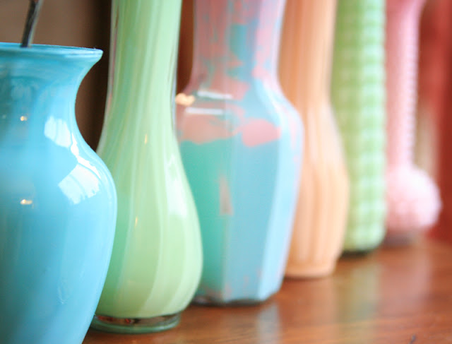DIY Painted Vases office decor