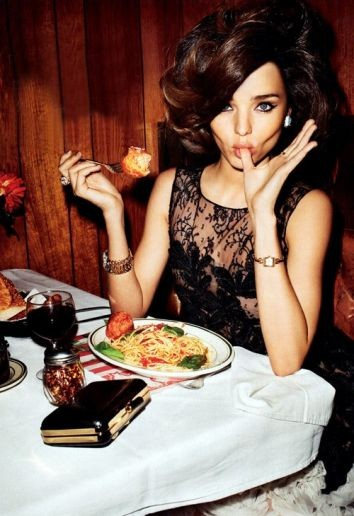 Miranda Kerr editorial models eating food