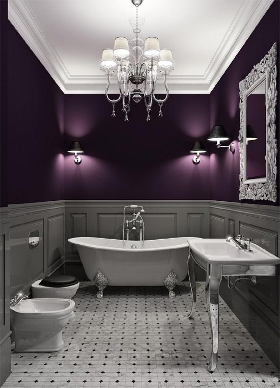 plum and gray interior design