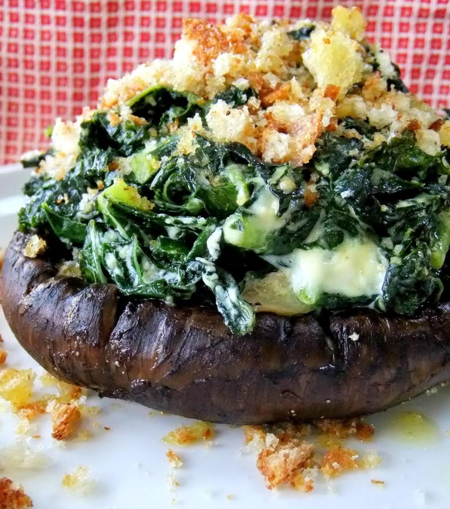 Portobello mushroom w/kale & goat cheese