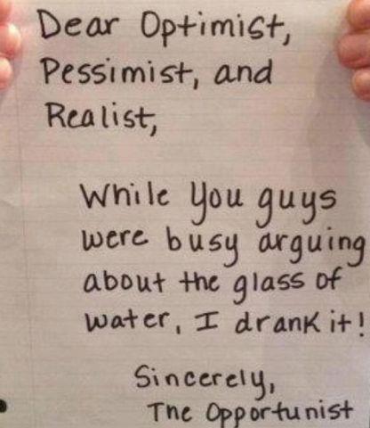 optimist,pessimist, realist, opportunist