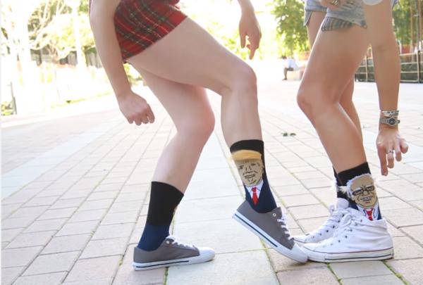 trump and bernie sanders socks