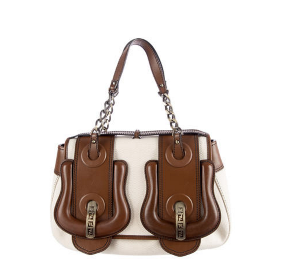 Fendi leather and cavas bag, $396