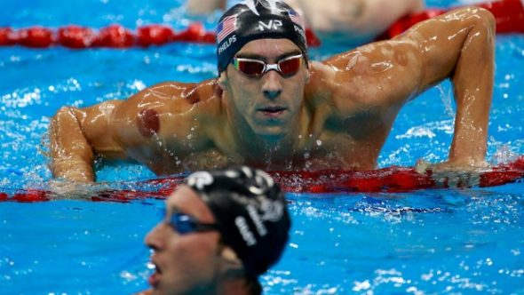 Michael Phelps at the 2016 Rio Olympic Games, showing off his cupping marks