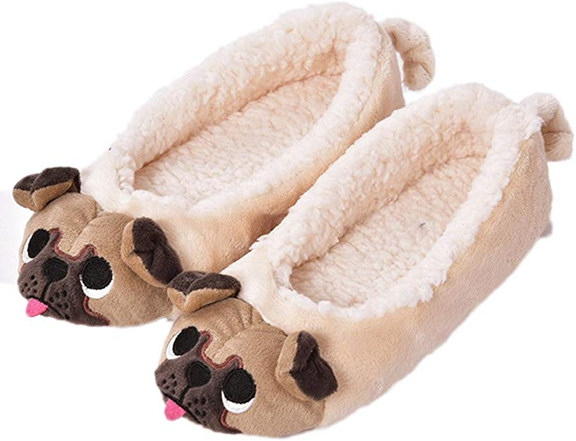 pug gifts, plush pug puppy slippers