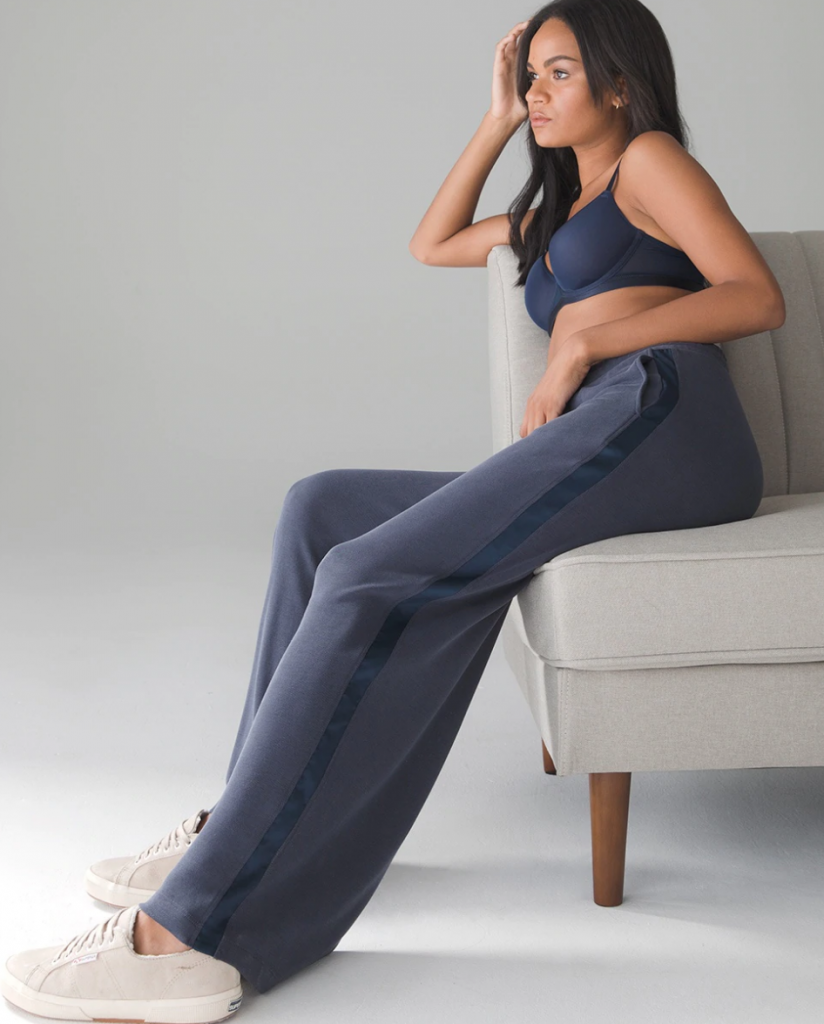 work from home fashion essentials, soma sandwash satin trim pants in nightfall navy blue