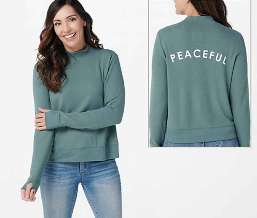 peace love world peaceful kale pullover for qvc, work from home fashion essentials
