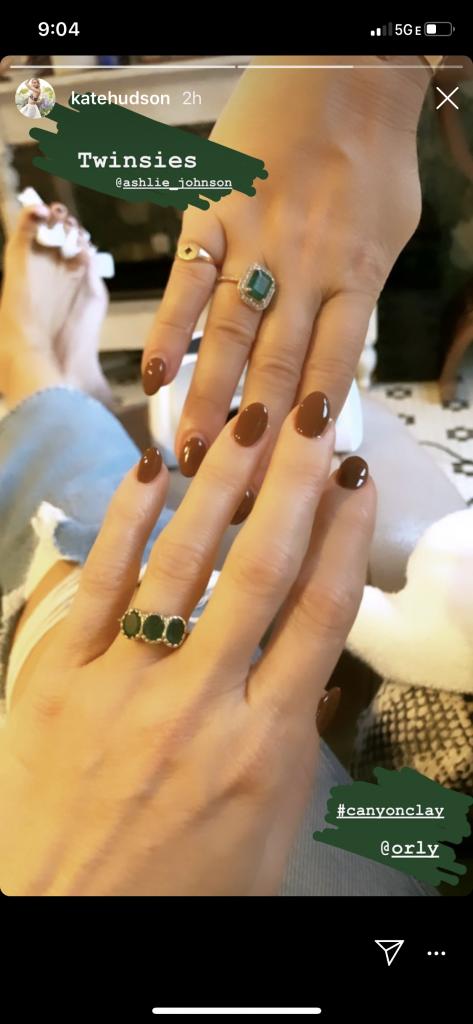 Orly Canyon Clay brown nail polish on Kate Hudson, Fall 2020